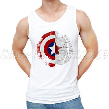 2017 Summer New Fashion A Friend A Mission design Men Tank tops Captain America Shield retro printed male custom Vest