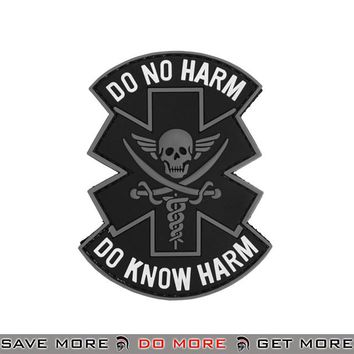 Lancer Tactical Velcro Morale Patch AC-481C - PVC Do No Harm Skull, Black