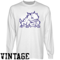 TCU Horned Frogs White Distressed Logo Long Sleeve T-shirt