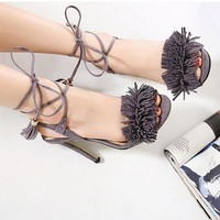 HOT tassel Strappy sandals sexy fashion high heels shoes