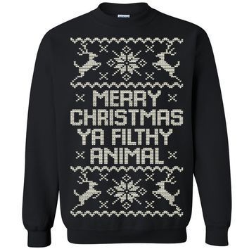 Zexpa Apparel™ Merry Christmas Ya Filthy Animal Unisex Crewneck Xmas Ugly Sweater  Sweatshirt