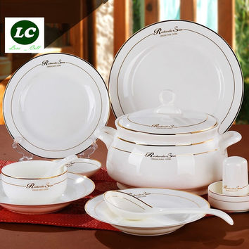 free shipping dinnerware set ceramic bone china 58pcs luxury golden Jingdezhen tableware avowedly dishes set plates bowls