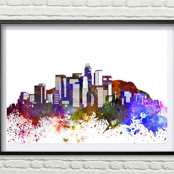 Los Angeles Skyline Print, Watercolor Art, Los Angeles Art, City Poster, City Skyline, Wall Art, Los Angeles Cityscape, Home Decor *11*
