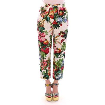 Dolce & Gabbana Multicolor Floral Crystal Sequined Cropped Pants