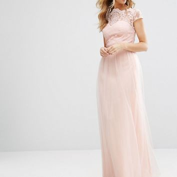 Chi Chi London Premium Lace Maxi Dress With Tulle Skirt And Cap Sleeve at asos.com