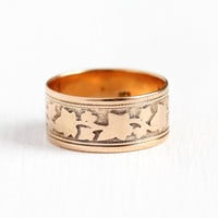Victorian Cigar Band - Late 1800s Antique 14k Rosy Yellow Gold Size 5 Ring - Vintage Fine Wedding Eternity Ivy Leaf Stacking Jewelry