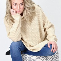 Cozy Cowl Neck Chunky Knit Sweater Tunic {Beige}