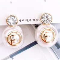 Fendi Fashion New Diamond Pearl Letter Earring Accessories Golden