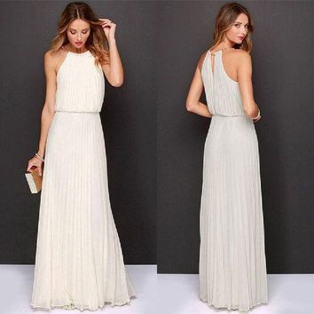 VONEHL5 Formal Bear Shoulder Pleated Long Chiffon Maxi Party Prom Dress