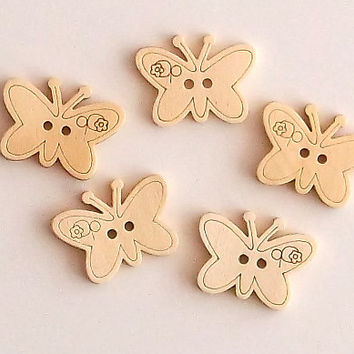 Set of 5 Butterfly Wooden Buttons, Approx 2 cm Diameter, Lasercut