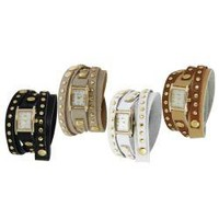 Geneva Platinum Women's Studded Wrap-around Watch | Overstock.com