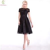Black Lace Evening Dress Sexy Little Black Gown A-line Short Sleeve Party Gown Custom Formal Dresses