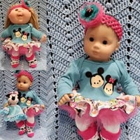 "Baby Doll Clothes ""Mouse Zooms"" (15 inch) doll outfit Will fit Bitty Baby® Twins® dress pants socks headband Q2"