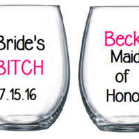 Humor Wedding Party Wine Glasses