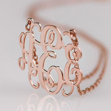 Rose gold plated monogram jewelry 1.25 inch monogram necklace--initial name pendant necklace
