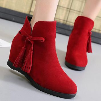 Women's shoes ankle boots flock fringe zip designer ladies boots increase within hard-wearing wedges botas feminina