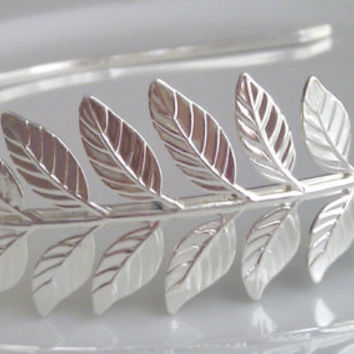 Silver Laurel Leaf Headband, Laurel Leaf Hairband, Silver Plated Grecian Leaf Headband, Bridal Leaf Headband, UK Seller
