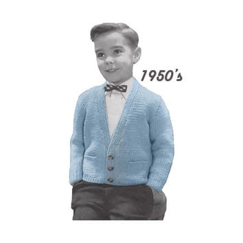 Boy's Cardigan Sweater Knitting Pattern Sz 4, 6, 8, 10, 12 || Vintage 1950's || Reproduction PDF Instant Download 5945-68