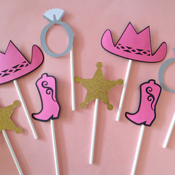 Pink Cowgirl Western Cupcake Toppers - Horse, Gun, Star, Horseshoe, Boot & Hat