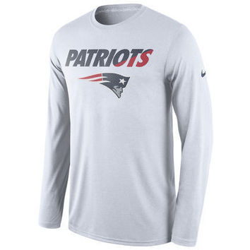 NFL New England Patriots Nike White Legend Staff Practice Long Sleeve Performance T-Shirt