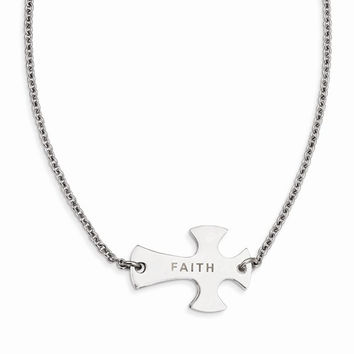 Stainless Steel Faith Large Sideways Cross Necklace