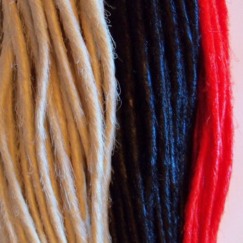 100 Synthetic Dreads Platinum Blond Black Red Dreadlock Hair Extensions or Dread Fall