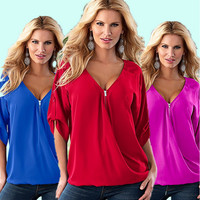Summer Women's Fashion Sexy V-neck Zippers Flex Chiffon Tops [6343449217]