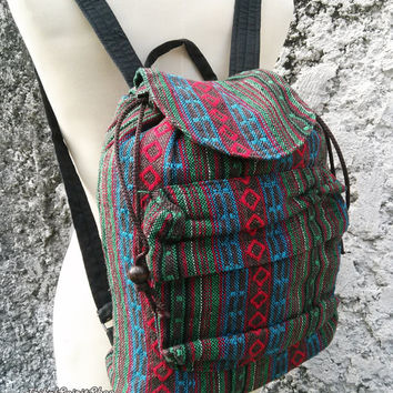 Boho Backpack Ethnic Aztec Tribal Print Hippies Gypsy Nepali Patterns Bags Woven Handmade Rucksack Hipster Hobo Purse Native Style Small
