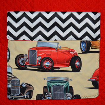 Deuces, One Oversize Burp Cloth, Classic car, hot rod, retro, with minky black and white Chevrons, boy, baby, premium