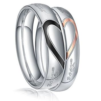 """Men,Women's """"Real Love"""" Heart Stainless Steel Band Ring Valentine Love Couples Wedding Engagement Promise"""