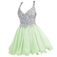 Babyonline V Neck Crystal Homecoming Dresses for Juniors Chiffon Prom Dress