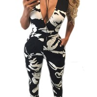 Print Deep V-neck Sleeveless Long Skinny Jumpsuit