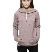 Game Of Love Women's Cowl Neck Raglan Sleeves kangaroo Pocket Pullover Hoodie Sweatshirts