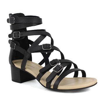 Womens Flat Sandals Strappy Buckle Accent Casual Comfort Shoes black