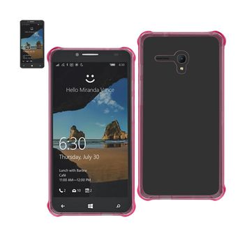 Alcatel One Touch Fierce Xl Clear Bumper Case With Air Cushion Protection (Clear Hot Pink)
