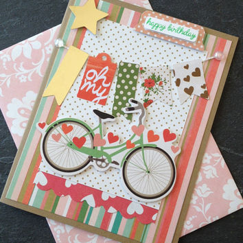 Handmade Happy Birthday Card, Card with a Bicycle and Banner, Card for Her, Card for Woman or Girl, Designer Paper, Greeting Card, Colorful
