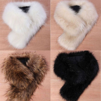 Details about High Quality New Women's Faux Fox Fur Collar Black White Beige Colors M8 scarf