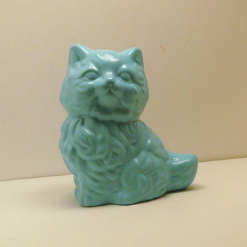 kitsch cat figurine // upcycled ceramics home decor by nashpop