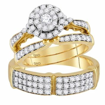 14kt Yellow Gold His & Hers Round Diamond Cluster Matching Bridal Wedding Ring Band Set 1-1-2 Cttw - FREE Shipping (US/CAN)