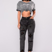Good Lighting Boyfriend Jeans - Black