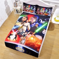 Panic Buying Star Wars Bedding Christmas Gifts Cozy Bed Sheet Set for Family Bedclothes Twin Full Queen