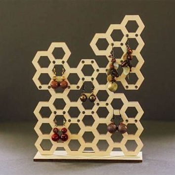 DCCKFS2 Laser Cut Wooden Honeycomb Shape Jewelry Organizer Holder Bee Jewelry Stand Stud Earring Holders Necklace Storage Display