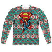 Regular Fit Long Sleeve Tee - Superman-Super Sweater Front/Back Print