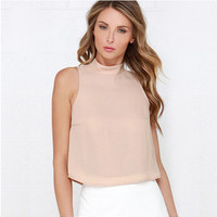 Cream Turtle Neck  Sleeveless Back Button Chiffon Top