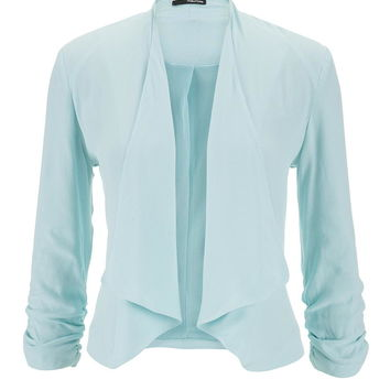Aqua Drape Front Blazer With Cinched Sleeves - Cool Aqua