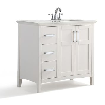 36 inch Right Offset Bath Vanity in Soft White with Bombay White Quartz Marble Top