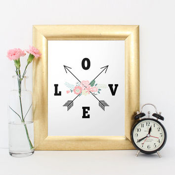 Arrow art print, Nursery Printable, wall art quote, Love arrow, Print Floral art, baby shower gift, floral nursery art, tribal arrow print