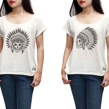 Women Skull wear indian headdress Printed T-shirt WTS_01