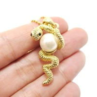 Snake Wrapped Around a Pearl Shaped Animal Pendant Necklace in Gold