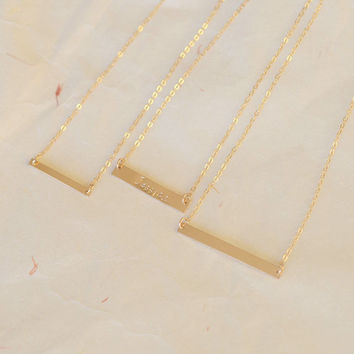 Gold Bar Necklace,Personalized Name Bar Necklace 14k Gold Fill Bar Necklace,40*4mm engraved necklace
